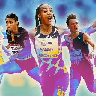 collage of five atheletes, from left to right, gidey, mclaughlin, hassan, warholm, norman