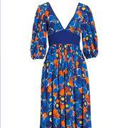 Clothing, Day dress, Dress, Blue, Formal wear, Pattern, Pattern, One-piece garment, Fashion design, Electric blue,