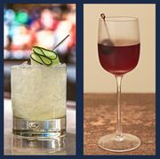 drink, alcoholic beverage, classic cocktail, cocktail, wine cocktail, distilled beverage, champagne cocktail, non alcoholic beverage, cocktail garnish, glass,