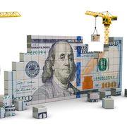 3d illustration of two cranes building 100 dollars