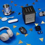 ember mug, marshall speaker, esker wallet, ipad, dodow, jabra earbuds, logitech mouse, chromecast, sony headphones, otterbox power bank