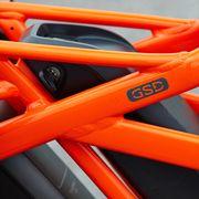 Bicycle part, Orange, Red, Bicycle frame, Vehicle, Bicycle wheel, Bicycle, Wheel,