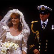 the wedding of prince andrew, duke of york, and sarah ferguson at westminster abbey, london, uk