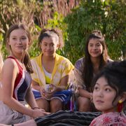 r vivian watson as mallory pike, sophie grace as kristy thomas, anais lee as jessi ramsey, kyndra sanchez as dawn schafer, and momona tamada as claudia kishi in episode 201 of the baby sitters club