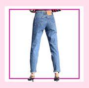 Denim, Jeans, Clothing, Pink, Textile, Pocket, Trousers, Leg, Waist, Font,