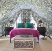 Room, Furniture, Interior design, Bedroom, Building, Wall, Attic, Bed, Architecture, House,