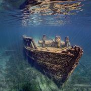 Water, Underwater, Shipwreck, Reflection, Vehicle, Sea, Landscape, World, Boat, Watercraft,