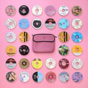 Pink, Button, Fashion accessory, Font, Circle,