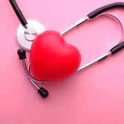 top view of heart shape and stethoscope