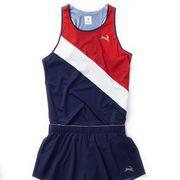 Clothing, Sports uniform, Sportswear, Cheerleading uniform, Cobalt blue, Uniform, Outerwear, One-piece garment, Electric blue,