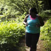 People in nature, Green, Nature, Natural landscape, Vegetation, Trail, Leaf, Tree, Running, Recreation,
