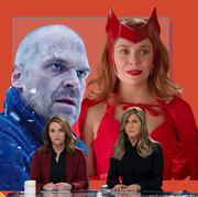 jason bateman in ozark, david harbour from stranger things, jennifer aniston and reese witherspoon from the morning show, elizabeth olsen from wandavision