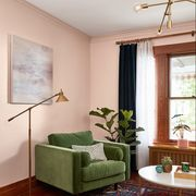 Furniture, Room, Interior design, Green, Living room, Property, Ceiling, Floor, Bed, House,
