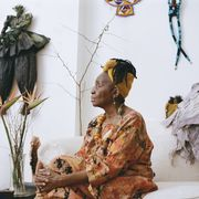 paula whaley poses for a portrait inside of oneeki design studio, her art studio and home in baltimore on april 7, 2021