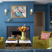 Living room, Room, Furniture, Blue, Green, Interior design, Yellow, Turquoise, Home, Table,