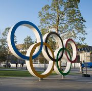 View of the Olympic Rings near the new National Stadium in...