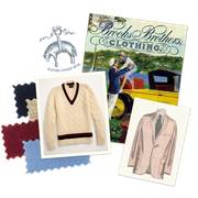 mens clothing and postcard