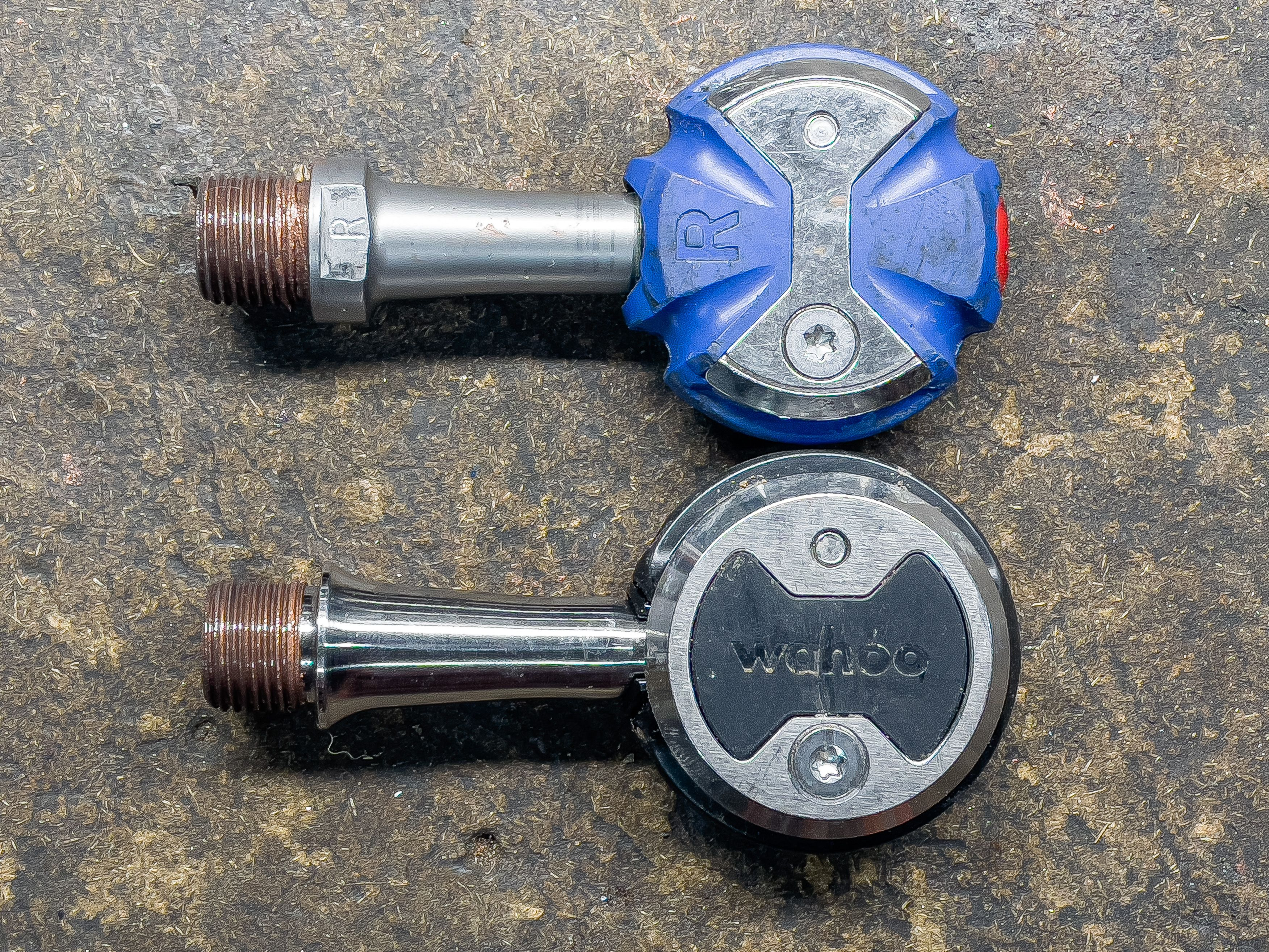 Old Speedplay pedal (top) vs new Wahoo Speedplay pedal (bottom).