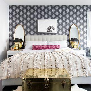 Bedroom, Bed, Furniture, Room, Bed frame, Bed sheet, Interior design, Bedding, Yellow, Pink,