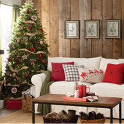 Christmas tree, Christmas decoration, Living room, Room, Furniture, Interior design, Home, Tree, Wall, Couch,