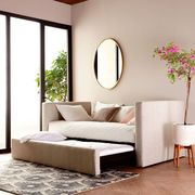 Furniture, Room, Interior design, Property, Floor, Couch, Wall, Living room, Ceiling, Bed,