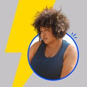 Hair, Blue, Hairstyle, Yellow, Afro, Shoulder, Arm, Human, Joint, Jheri curl,