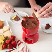 wilton red ceramic fondue set