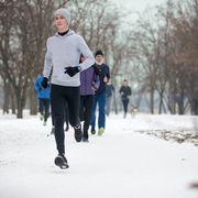 Winter running in park