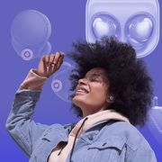woman with samsung wireless earbuds