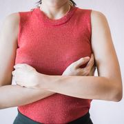 Woman with itchy breasts