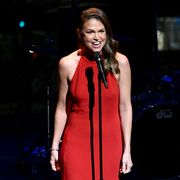 womans day red dress awards 2020 video sutton foster