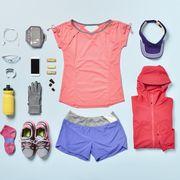 Women's Jogging supplies shot knolling style.