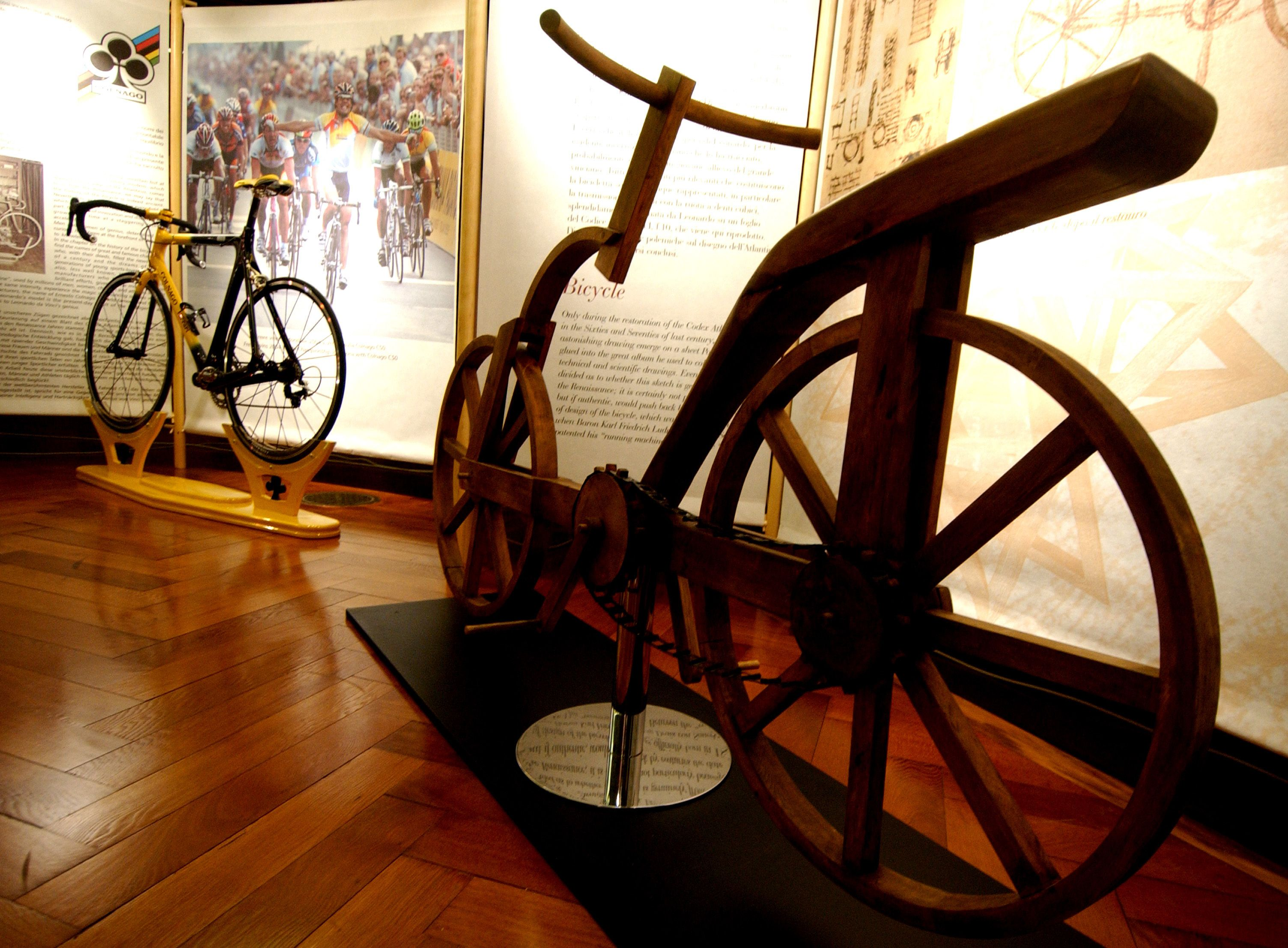 A wood bicycle based on Leonardo da Vinci's Renaissance study project is exhibited as part of the Codex Atlanticus exhibition at the Corsini Palace in Rome.