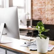 Workspace with brick wall in office