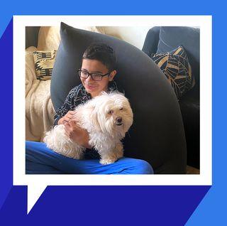 kid with dog sitting in yogibo max