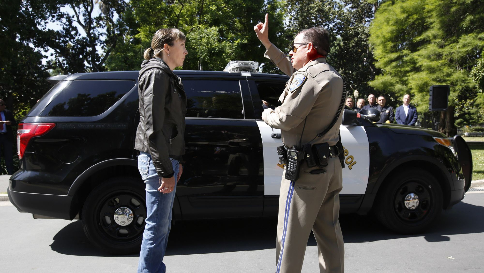 A simulated drugged driving traffic stop in California. Officials are overstating the danger of drugged driving compared to alcohol and cell phones.  (AP Photo/Rich Pedroncelli)