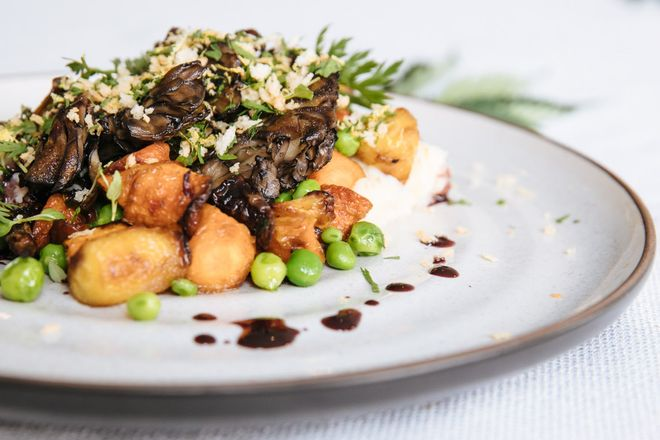 The vegetarian dish, which will be served at Flourish Cannabis' Cannavore Dining event, includes seared maitakes mushrooms with honey glazed carrots, peas, cauliflower and potato puree, and topped with panko gremolata in San Francisco, Calif. Tuesday, August 8, 2017. Photo: Mason Trinca