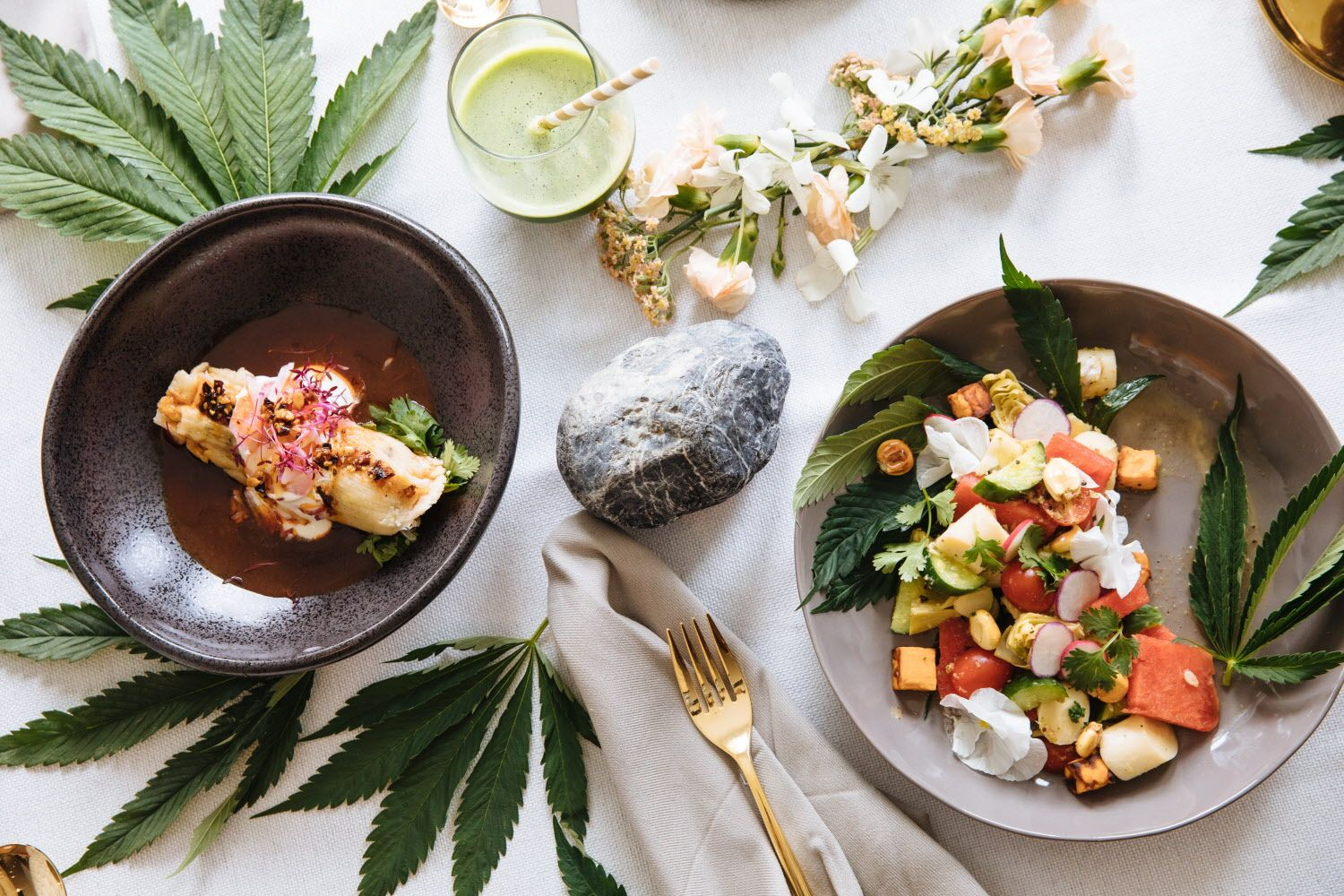 The vegetarian tamale dish, left, with charred scallions and poblanos, mushrooms, Monterey jack, mole and their CBC infused chili and Hearts of Palm Aguachile dish with  artichokes, cucumber, cherry tomatoes, roasted sweet potato, radish and corn photographed at Flourish Cannabis kitchen in San Francisco, Calif. Tuesday, August 8, 2017.