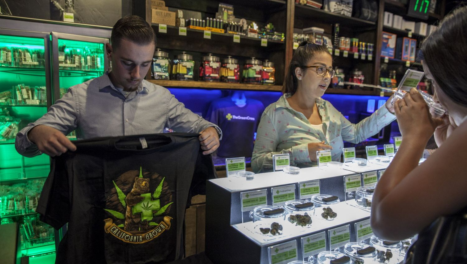 Medical cannabis and merchandise being sold at The Green Cross in San Francisco in 2017. San Francisco will miss the January 1 starting date for recreational sales.
