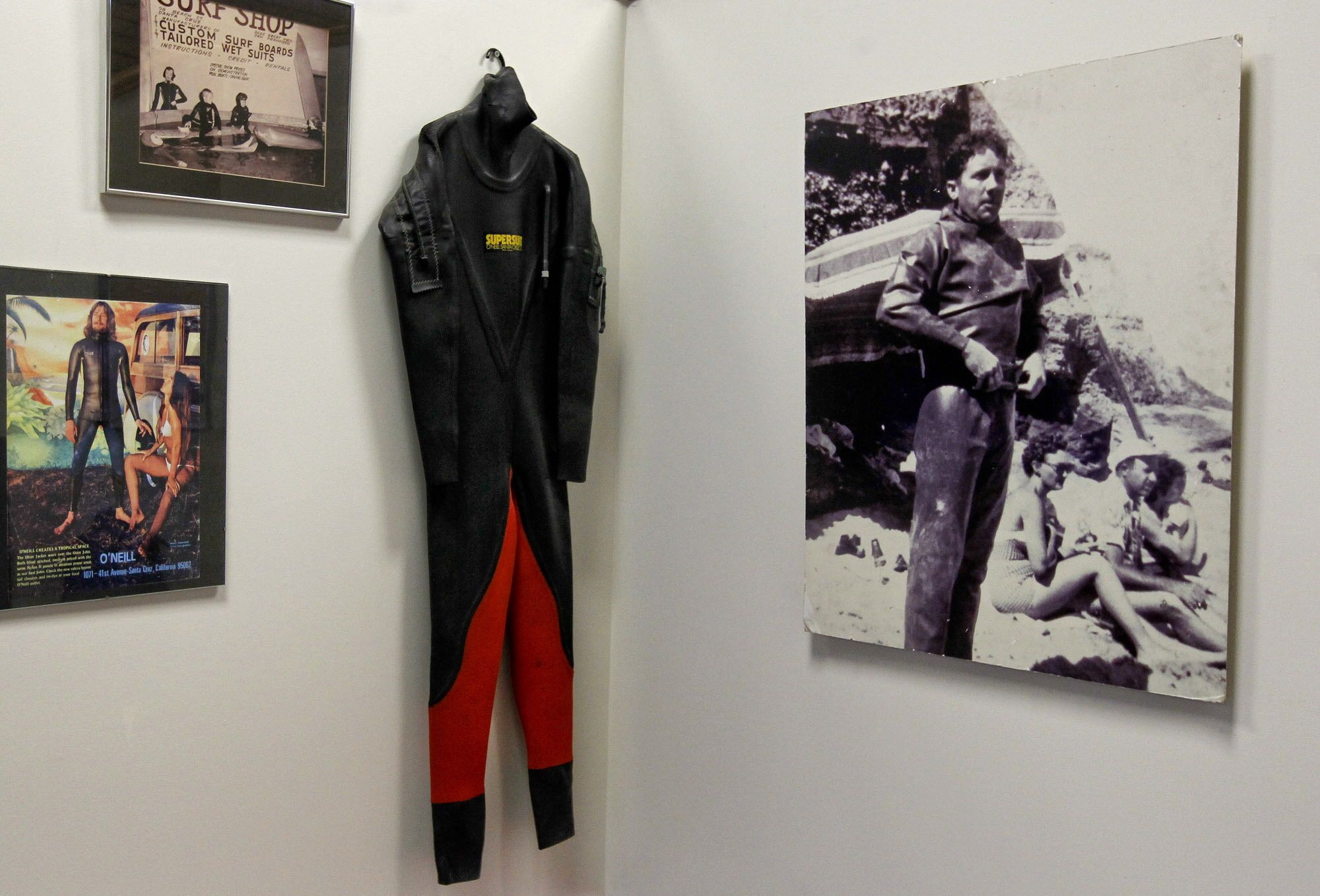 O'Neill's Surf Shop, in Santa Cruz, Ca., on Thursday April 26, 2012, displays vintage products and a photo of Jack O'Neill in a dry suit,  as they celebrate their 60th anniversary. 89-year-old, Jack O'Neill a surf industry pioneer, who invented the wet suit, is celebrating 60 years since he opened the world's first surf shop, in San Francisco in 1952.