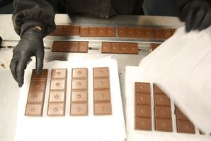 Mint irish cream milk chocolate bars prepared for packaging at Kiva's chocolate factory on Friday, August 11, 2017, in Oakland, Calif.
