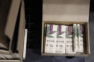 Packaged bars of Kiva 180mg blackberry dark chocolate bars at Kiva's chocolate factory on Friday, August 11, 2017, in Oakland, Calif..