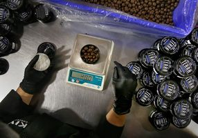 Kiva: Terra Bites 120mg chocolate covered blueberry bites placed in tins measured on a weight scale at Kiva's chocolate factory on Friday, August 11, 2017, in Oakland, Calif.