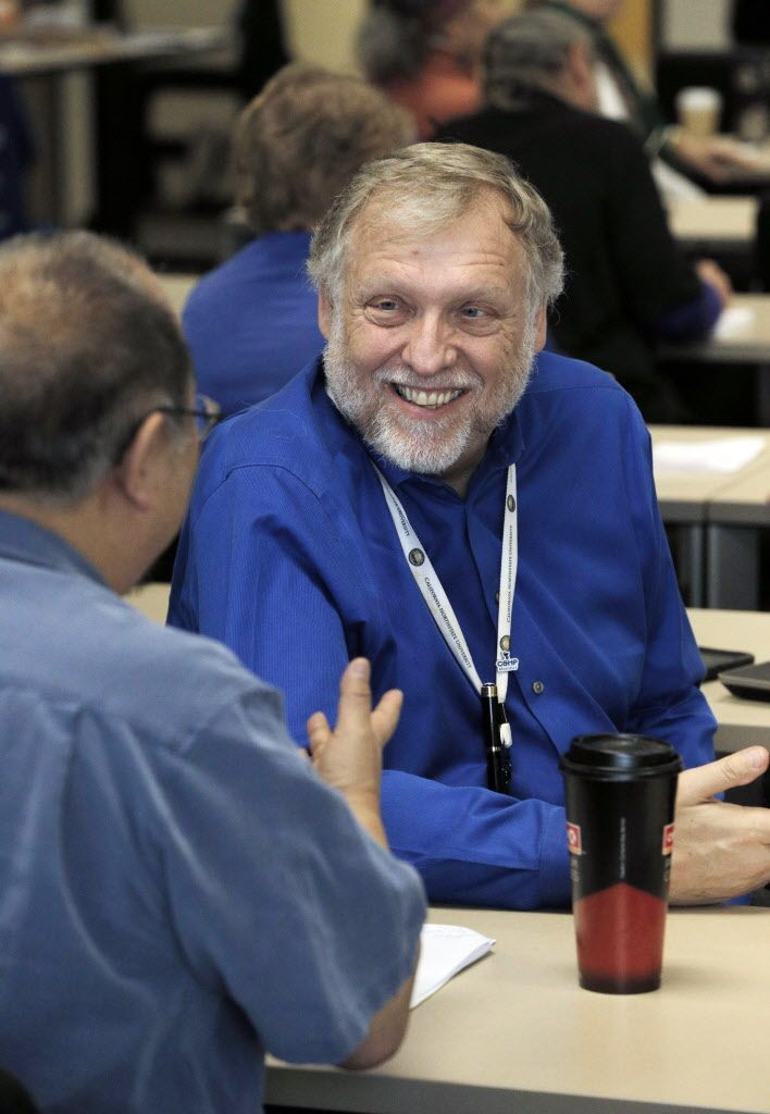 Dr. Grant D. Lackey, Dean of the Northstate University College of Medicine, chats with a student during an all day medical marijuana course at Northstate University College of Medicine in Elk Grove, Calif., on Sunday, January 29, 2017. Medical marijuana education leader United Patients Group partnered with respected California Northstate University College of Medicine to offer one of the first medical marijuana courses in the Nation designed and taught in conjunction with an accredited medical college.