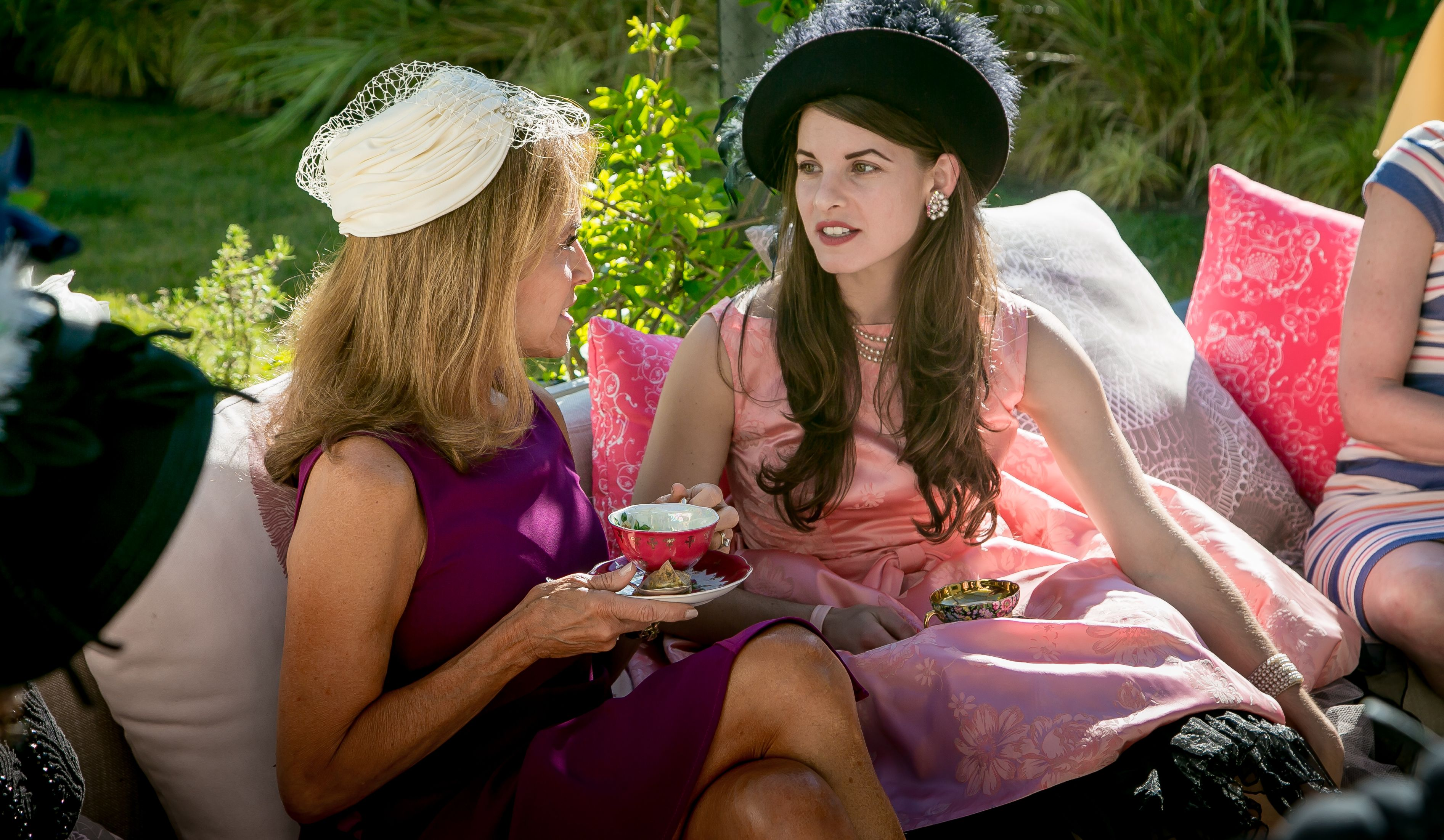 Chelsey McKrill talks with Gloria Webster at a tea party for Kikoko Cannabis Tea in Mill Valley, Calif., on June 10th, 2017.