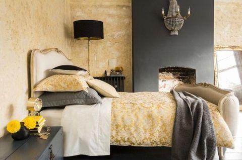 Room, Interior design, Textile, Bed, Wall, Bedding, Linens, Bed sheet, Bedroom, Bed frame,