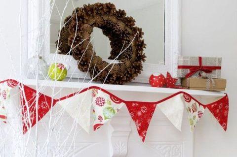 Christmas decoration, Wreath, Branch, Twig, Tree, Christmas, Room, Table, Interior design, Plant,
