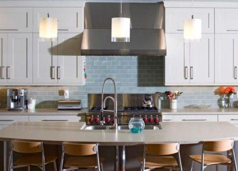 Room, Interior design, Table, Plumbing fixture, Kitchen, Light fixture, Interior design, Furniture, Glass, Kitchen sink,