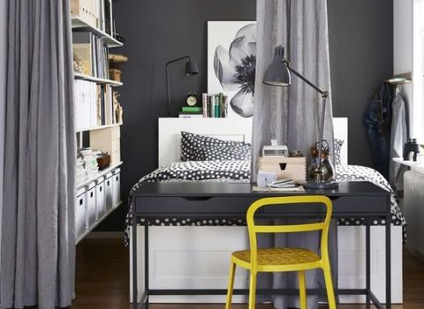 Room, Interior design, Floor, Furniture, Lamp, Interior design, Linens, House, Home, Grey,