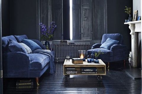 Blue, Room, Interior design, Living room, Home, Furniture, Floor, Wall, Couch, Purple,